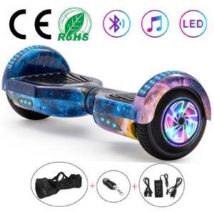 6,5 Zoll Hoverboard Self Balance Board Elektro Skateboard Elektroroller, Smart Self- Balancing Scooter Räder mit Bluetooth LED-Licht, Motor 250W*2 Aufbewahrungstasche Fernbedienung Blauer Himmel