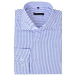 Huicheng Herren Business-Hemd weiß und hellblau gestreift Gr. XL
