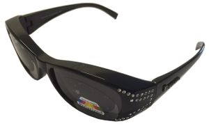 Figuretta Sonnenbrille Überbrille in schwarz mit Strass  Schutz Optik Style Brille GetöntSonnenschutz Sommer Sonne Urlaub Style Sonnenschein