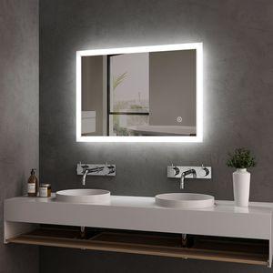 Meykoers Badspiegel Lichtspiegel 50 x 70 cm LED Spiegel Wandspiegel mit Beleuchtung kaltweiß Lichtspiegel mit Touchschalter IP44 energiesparend