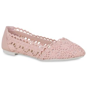 Mytrendshoe Klassische Damen Ballerinas Spitzenstoff Slippers Slip On Schuhe 822838, Farbe: Rosa, Größe: 38