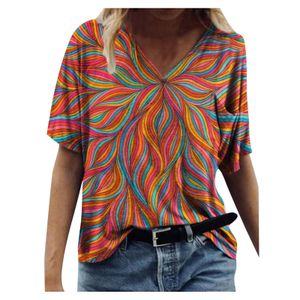Frauen neue Mode bunte Blumen kurzärmelige Top bedruckte T-Shirt Größe:L,Farbe:Orange
