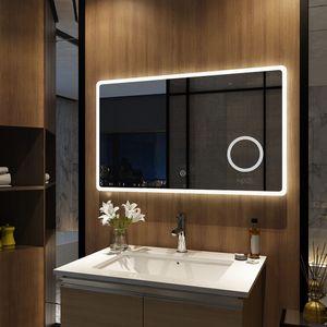 Meykoers LED Badspiegel 100x60cm Badspiegel mit Beleuchtung kaltweiß Lichtspiegel Badezimmerspiegel Wandspiegel Touch 3-Fach Vergrößerung IP44 energiesparend