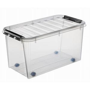 Smart Store Aufbewahrungsbox Classic 70 l mit Rollen 72 x 40 x 39 cm, transparent