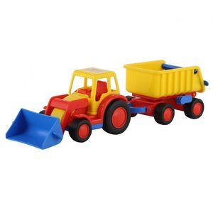 WADER Basics Traktor mit Hänger Kinder Spielzeug Auto Trecker Kinderspielzeug