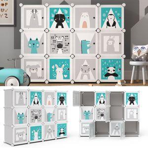 Vicco Kleiderschrank Andy Kinder grau modular 12 Fächer Kleiderstange Steckregal