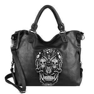 OBC Damen Totenkopf Skulls Tasche USA Look Shopper Schultertasche Handtasche Umhängetasche Crossbody Strasssteine Leder Optik Reisetasche Weekender Schwarz