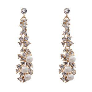 Silber Kristall Diamante Lange Tropfen Baumeln Faux Perle Ohrringe Schmuck