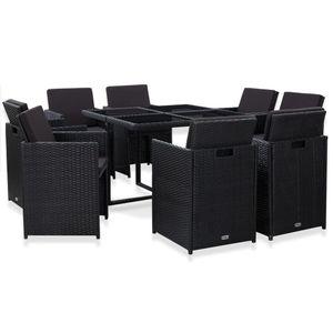 Huicheng 9-tlg. Poly Rattan Sitzgruppe mit Tisch, 8x Esszimmerstuhl & Auflagen Schwarz