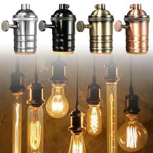 Vintage E27 Edison Lampenfassung Fassung mit Schalter für Pendelleuchte,Rote Bronze