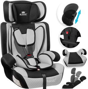 KIDIZ® Autokindersitz Kindersitz Kinderautositz | Autositz Sitzschale | 9 kg - 36 kg 1-12 Jahre | Gruppe 1/2 / 3 | universal | zugelassen nach ECE R44/04 | 6 verschiedenen Farben |, Farbe:Grau