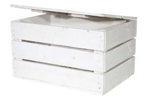 1x Schöne, weiße Holztruhe mit Deckel, ideal zum Verstauen von Spielzeug / Wintersachen / Dekoartikeln, neu, 48x36x28cm