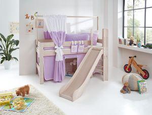 Relita Spielbett LEO Buche massiv white wash, mit Rutsche und über Eck gebauter Leiter BS1321146-B90+TX5062027+TX5032027