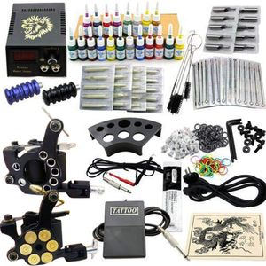 Tätowierung Komplett Set Kit 2 TattooMaschine Netzgerät 20 Farben Nadeln Tätowiermaschine Komplettset Tattoo set Gun Machine Grip Netzgerät (JM12)