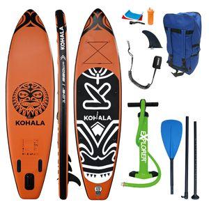 SUP Board KOHALA 320 Stand Up Paddle Orange schwarz Paddel ISUP Komplett Set