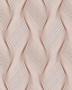 Streifen Tapete EDEM 85030BR33 Vinyltapete leicht strukturiert mit geschwungenen Linien und metallischen Akzenten braun beige-braun weiß silber 5,33 m2