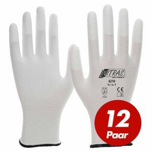 NITRAS Nylon-Handschuhe 6210 Arbeitshandschuhe Gartenhandschuhe PolyurethanFingerkuppenbeschichtung - 12 Paar Größe:8