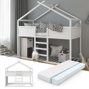 VITALISPA Hochbett Merlin - Spielbett Kinderbett Erle weiß Jugendbett Hausbett + Matratze