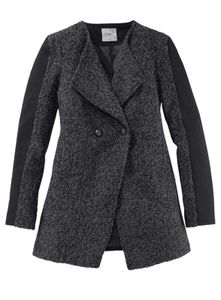 Ltb Damen Marken-Woll-Kurzmantel, grau-schwarz, Größe:L
