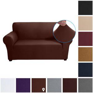 Stretch Sofa Schonbezug Milch Seide Stoff Anti-Rutsch Soft Couch Sofabezug 2-Sitzer Waschbar für Wohnzimmer Kinder Haustiere (Leichter Kaffee)