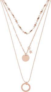 styleBREAKER Damen Edelstahl Layer Halskette 3-reihig mit Ring, Stern und rundem Anhänger, Ankerkette, Kugelkette, Schmuck 05030060, Farbe:Gold