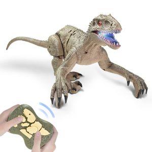Realistische Dino Fernbedienung Dinosauria Velociraptor Spielzeug Big Walking Velociraptor LED Licht Brš¹llen 2,4 GHz Simulation RC Velociraptor Geschenk fš¹r Kinder Jungen
