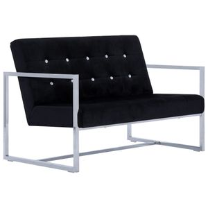 vidaXL 2-Sitzer-Sofa mit Armlehnen Schwarz Chrom und Samt