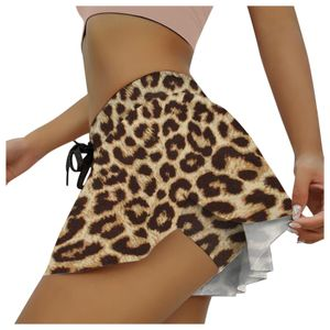 Damen Sommer Mode Kordelzug Culottes Design Sport Shorts Größe:M,Farbe:Gelb