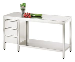 Arbeitstisch mit Grundboden und Schubladenblock links