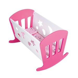 Holz Puppenwiege Bett Weiß/Pink Puppenbett Schaukelbett Puppen Wiege