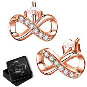 Unendlichkeit Ohrringe echt 925er Sterling Silber Rosegold Zirkonia Kristall Ohrstecker für Damen Mädchen K925+V12