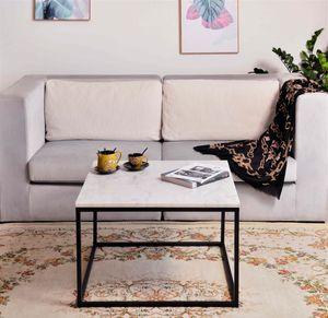 SIT Möbel Couchtisch quadratisch   Tischplatte Marmor weiß   Gestell Metall schwarz   B 75 x T 75 x H 48 cm   01053-24   Serie THIS & THAT