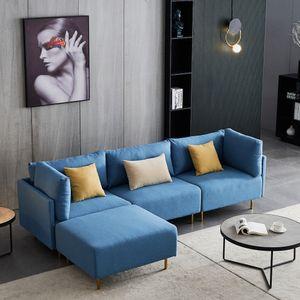 Curyu Moderne Ecksofas L-Form 3-Siter Stoffsofa mit Hocker Blau Leinen Stoffbezug Holzbeinen freistehend Ottomane Breite 276cm