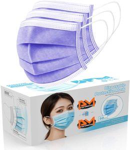 SAMTOBELY 50 Stück Mundschutz 3-lagig , MNS Atemschutz Einweg Maske Hygieneschutz 18x9 cm lila Menge: 50 Stück / BOX