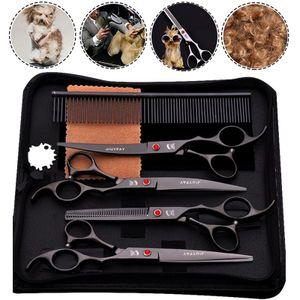 5 in 1 Edelstahl Fellscheren Set mit 19 cm Schneidschere für alle Hunde Katze Schneiden und Grooming