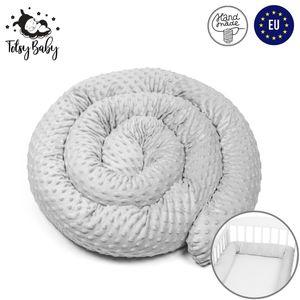 Bettschlange 300 cm Nestchenschlange für baby Bettrolle 3m bettumrandung Babybettschlange gemütlich Minky Grau