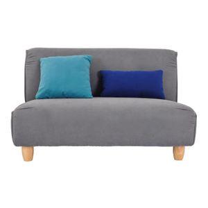 MELINA Festes Sofa 2-Sitzer - Grauer Stoff und Holzbeine - L 122 x T 86,5 x H 78,5 cm