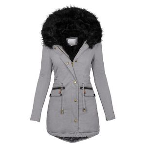 Mode Solid Women Casual Dicker Winter Slim Coat Mantel Größe:M,Farbe:Grau