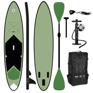 ToCi StandUp Paddeling Board XL Grün | 320 x 76 x 15 cm aufblasbares Surfbrett | mit Trage Rucksack und Teleskop Alu Doppel-Paddel | inklusive 2 Wege Pumpe