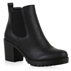 Mytrendshoe Gefütterte Damen Chelsea Boots Block Absatz Stiefeletten 812111, Farbe: Schwarz, Größe: 39