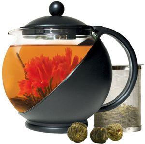 Teekanne Glas 1300ml Halbmond-Teekanne mit Sieb Edelstahl Filter Deckel Kanne Teebreiter Glaskanne