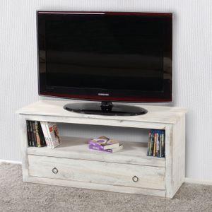 TV-Rack Fernsehtisch Lowboard TV-Regal, Shabby-Look, Vintage  weiß