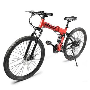 26-Zoll-Mountainbikes Mit Vollfederung 21-Gang-Faltrad rutschfest,Farbe: Rot