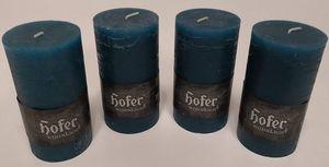 4 Stk 130x70mm HOFER Qualität Stumpenkerzen Kerzen Tischdeko durchgefärbt PETROL