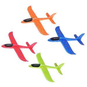 4 Stück 48cm  Kinder Segelflugzeug, Werfen Fliegen Modell, Styroporflieger Flugzeug Spielzeug Outdoor-Sportarten Spielzeug, Flugzeug -Orange+ Blau+ Rot+grün