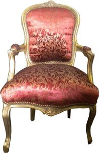 Barock Salon Stuhl Bordeaux Muster / Gold