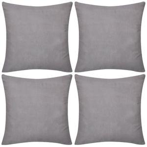 vidaXL 4 graue Kissenbezüge Baumwolle 40 x 40 cm