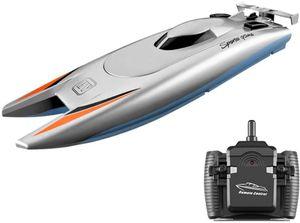 RC-Boote für Kinder Erwachsene 25 km / h Hochgeschwindigkeits-Rennboot 2-Kanal-Fernbedienungsboote für Pools Rennboot