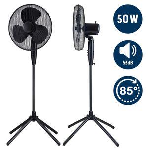 Ventilator Standventilator 50W Luftkühler Ventilator Lüfter Oszillierend Schwarz