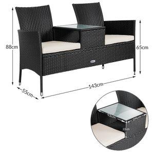 Poly Rattan Kino Bank 2 Sitzer mit Tisch und Auflage  schwarz & creme, Farbe:anthrazit